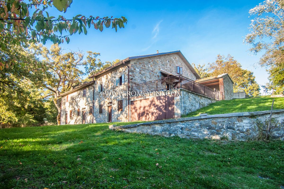 AREZZO, TUSCANY: COUNTRY HOUSE WITH GARDEN FOR SALE, PIEVE SANTO STEFANO, CENTURIES-OLD OAKS, HILL, FARMHOUSE